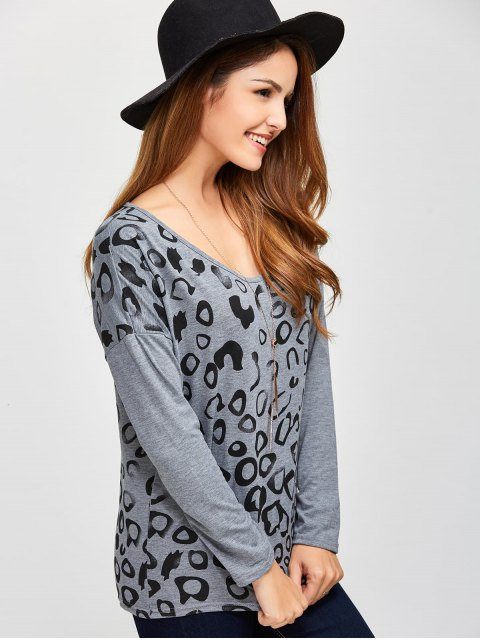 fashion Scoop Collar Printed Tee - GRAY M Mobile