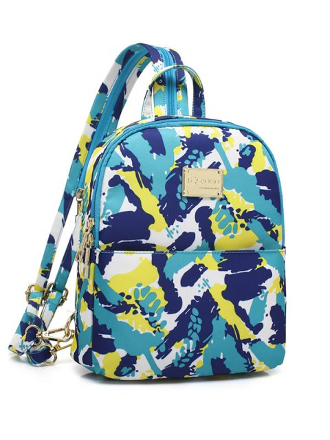 sale Printed Zippers Nylon Backpack - BLUE GREEN  Mobile
