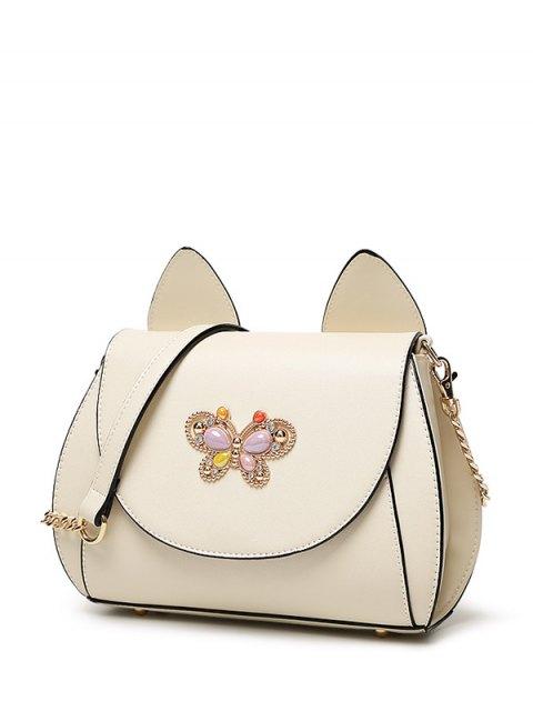 fancy Cat Ear Rhinestone Butterfly Crossbody Bag - OFF-WHITE  Mobile