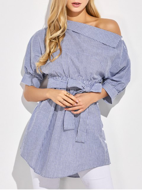 lady Striped Casual One-Shoulder Blouse - BLUE XL Mobile