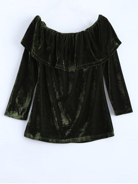 womens Velvet Off Shoulder Ruffles T-Shirt - GREEN XL Mobile