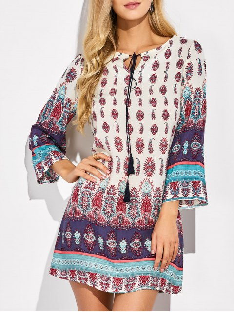 trendy Retro Print Tunic Dress - COLORMIX L Mobile