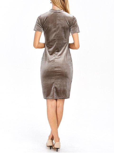 best Short Sleeve Velvet Dress - KHAKI S Mobile