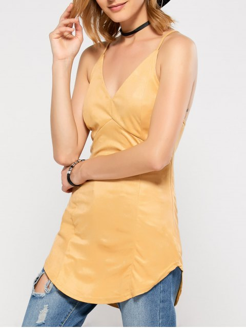 chic Suede Criss Back Slip Top - YELLOW M Mobile