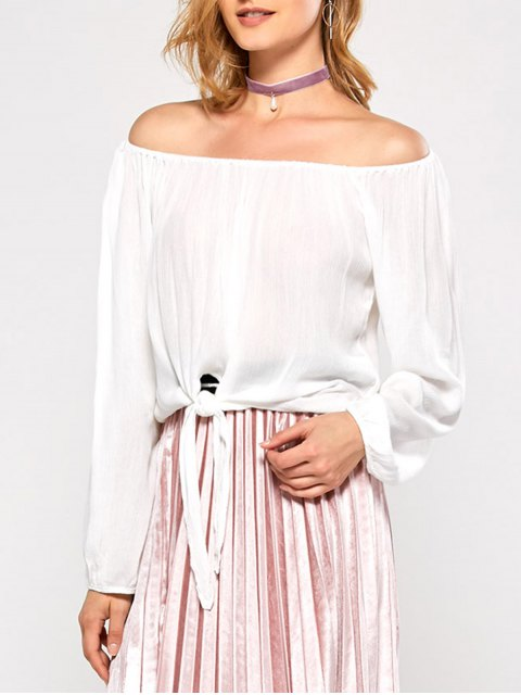 latest Off The Shoulder Front Knot Blouse - WHITE 2XL Mobile