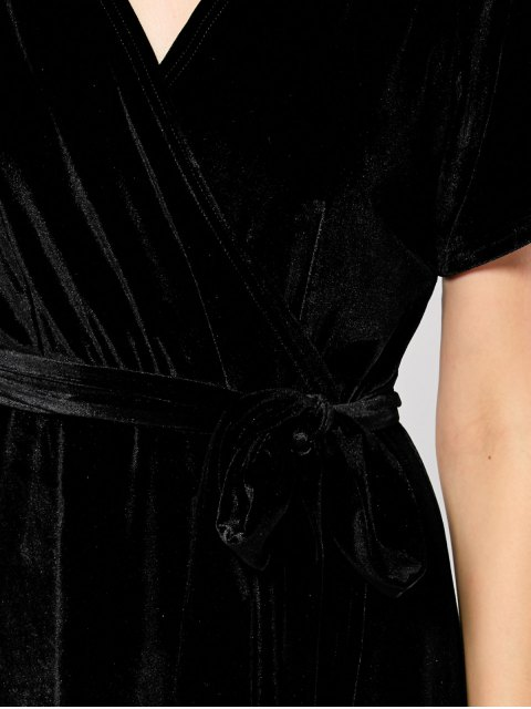 sale Velvet Wrap Asymmetric Short Sleeve Maxi Dress - BLACK L Mobile
