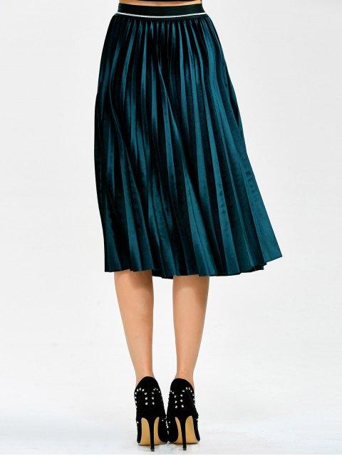 women's Accordion Pleat Velvet Skirt - LAKE BLUE ONE SIZE Mobile