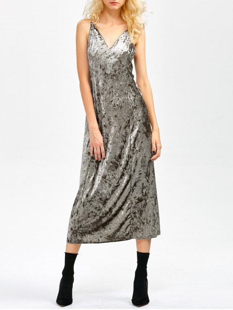 women's Velvet Slit Midi Dress - GRAY L Mobile
