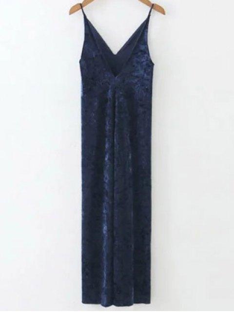 online Velvet Slit Midi Dress - SAPPHIRE BLUE M Mobile