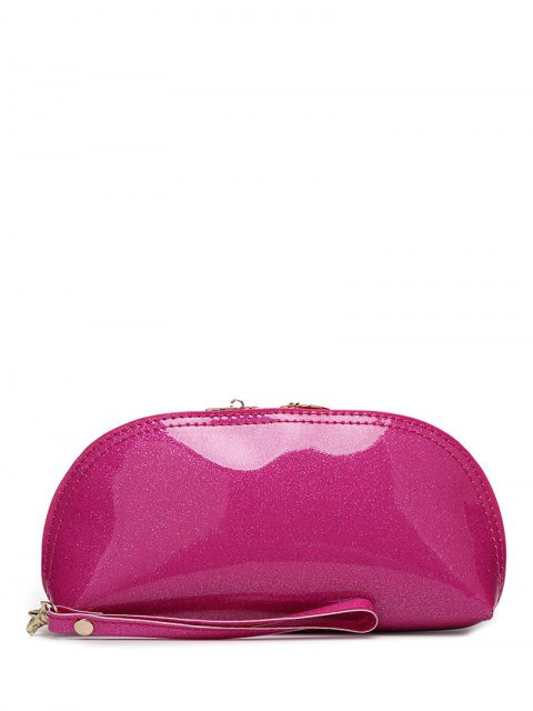 best Zipper Around Patent Leather Wristlet - ROSE RED  Mobile