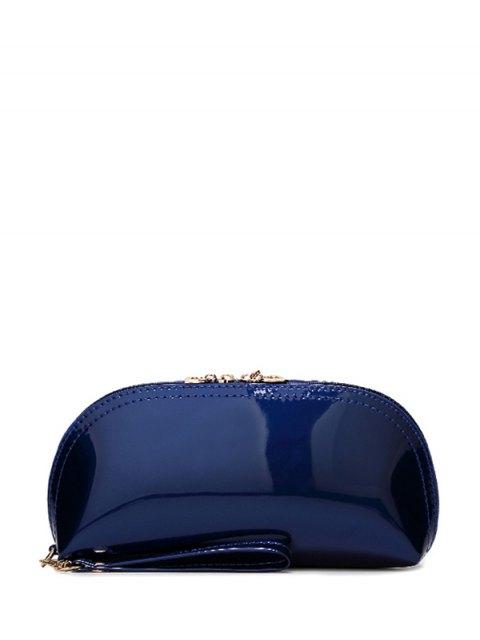 online Zipper Around Patent Leather Wristlet - DEEP BLUE  Mobile