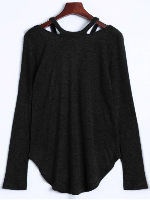 online Cut Out Pullover Sweater - BLACK XL Mobile