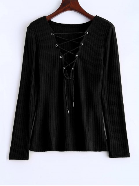women Ribbed Knit Lace Up Jumper - BLACK M Mobile