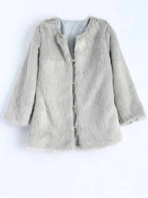 trendy Round Neck Faux Fur Coat - GRAY S Mobile