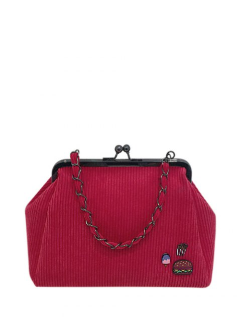 latest Ribbed Chain Kiss-Lock Closure Tote Bag - RED  Mobile