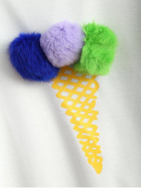 women Icecream Cone Pom Pom Sweatshirt - WHITE XL Mobile