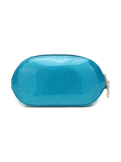 outfits Glitter Zip Around Patent Leather Wristlet - BLUE  Mobile