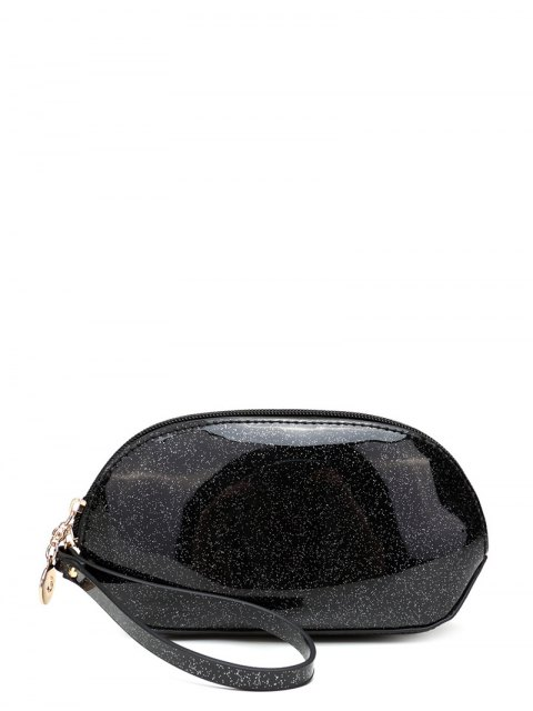 shops Glitter Zip Around Patent Leather Wristlet - BLACK  Mobile