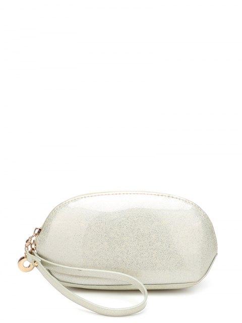 latest Glitter Zip Around Patent Leather Wristlet - OFF-WHITE  Mobile