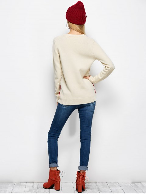 hot Letter Crew Neck Christmas Pullover Sweater - PALOMINO M Mobile