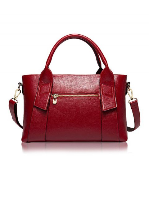 fancy Textured PU Leather Handbag Set - WINE RED  Mobile