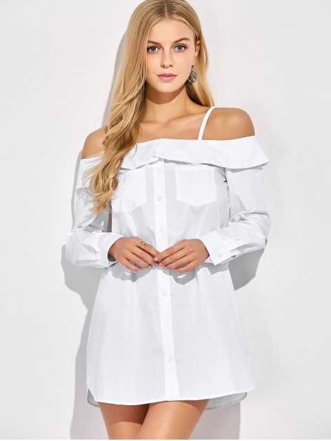 latest Cold Shoulder Button Up Blouse - WHITE XL Mobile