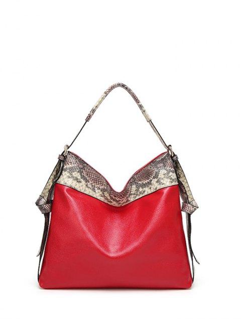 sale Snake Print Panel Shoulder Bag - RED  Mobile