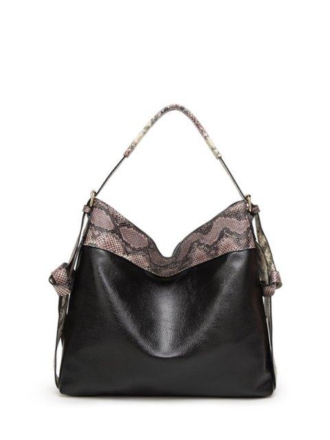 affordable Snake Print Panel Shoulder Bag - BLACK  Mobile