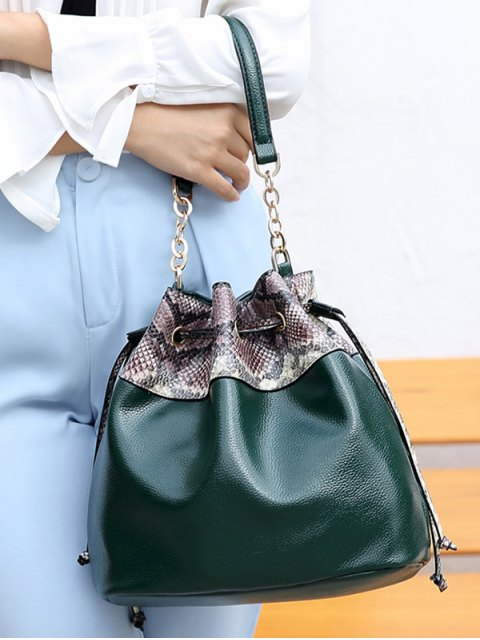 women's Snake Print Panel Bucket Bag - BLACKISH GREEN  Mobile