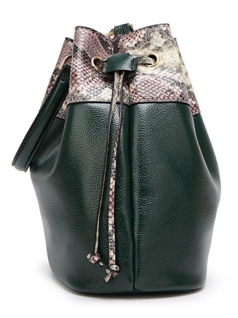 lady Snake Print Panel Bucket Bag - GRAY  Mobile