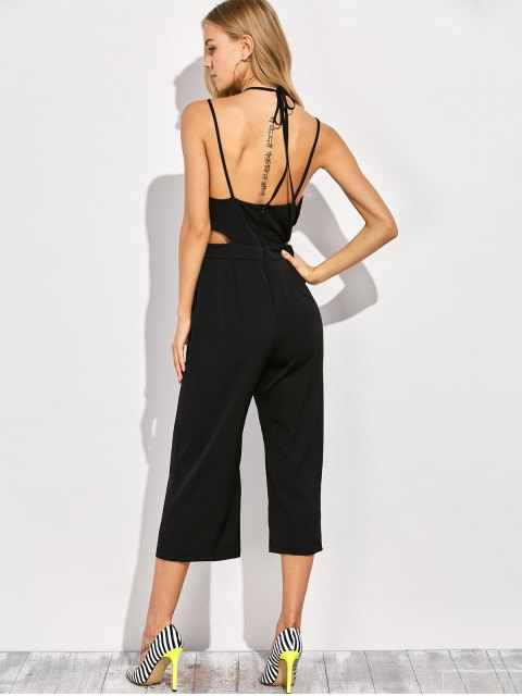 best Loose Cutout Slip Jumpsuit - BLACK 2XL Mobile
