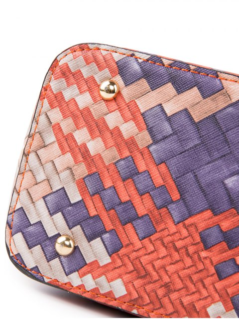 new Colored Woven PU Leather Shouder Bag - ORANGE  Mobile