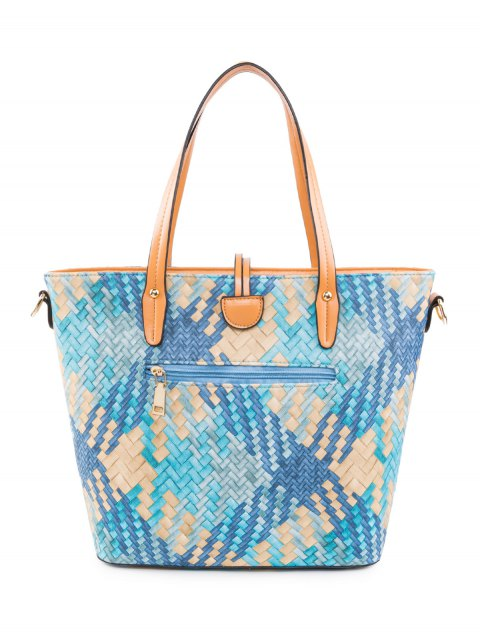 hot Colored Woven PU Leather Shouder Bag - BLUE  Mobile