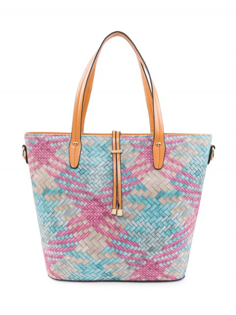 outfit Colored Woven PU Leather Shouder Bag - ROSE RED  Mobile