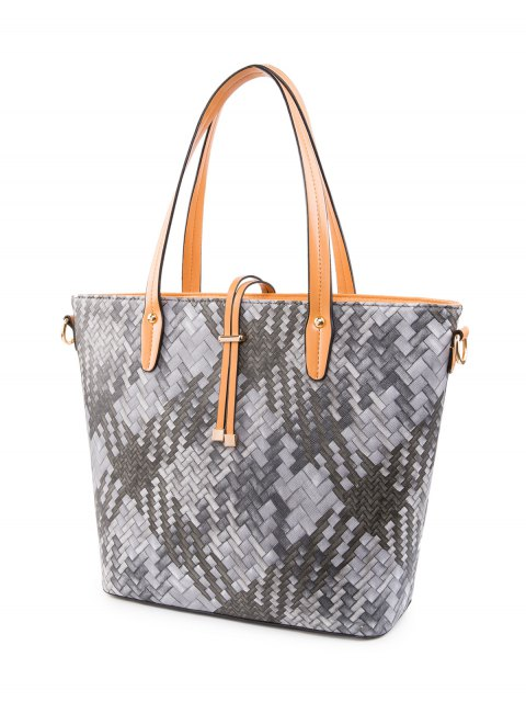 outfits Colored Woven PU Leather Shouder Bag - BLACK  Mobile