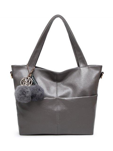 shop Pompons PU Leather Shouder Bag - GRAY  Mobile
