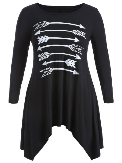 Arrow Pattern Irregular Hem Tee - BLACK XL Mobile