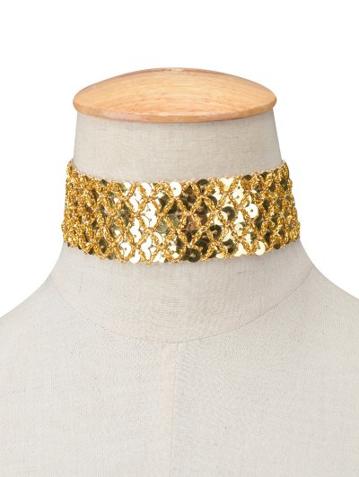 Fish Scales Sequins Choker - GOLDEN  Mobile