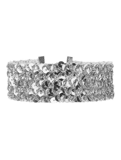 Fish Scales Sequins Choker - SILVER  Mobile