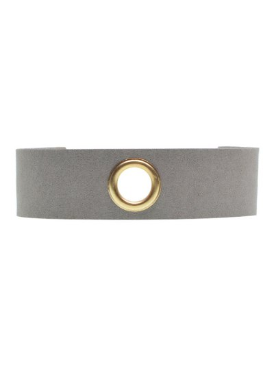 Velvet Rivet Hole Wide Choker - GRAY  Mobile