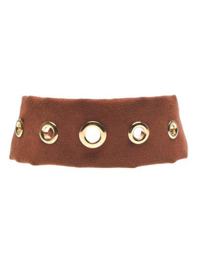 Suede Rivet Choker Necklace - BROWN  Mobile