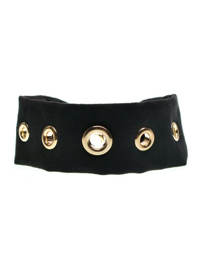 Suede Rivet Choker Necklace - BLACK  Mobile