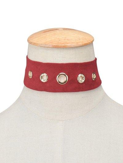 Suede Rivet Choker Necklace - BURGUNDY  Mobile