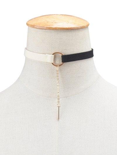 Chain Tassel Circle Velvet Choker - WHITE AND BLACK  Mobile