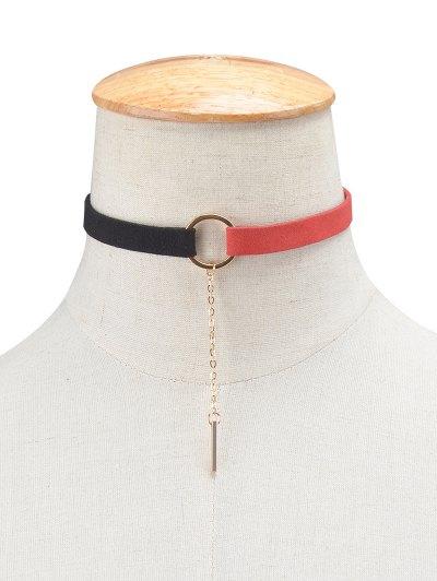 Chain Tassel Circle Velvet Choker - RED + BLACK  Mobile