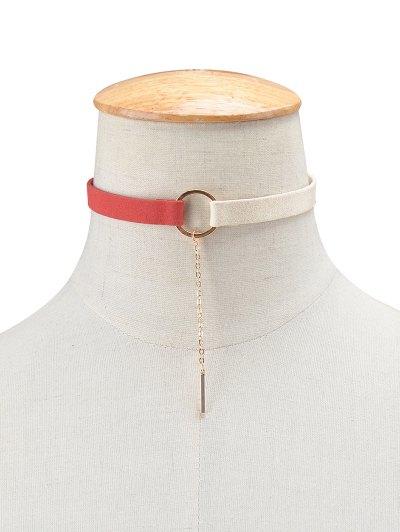 Chain Tassel Circle Velvet Choker - RED AND WHITE  Mobile