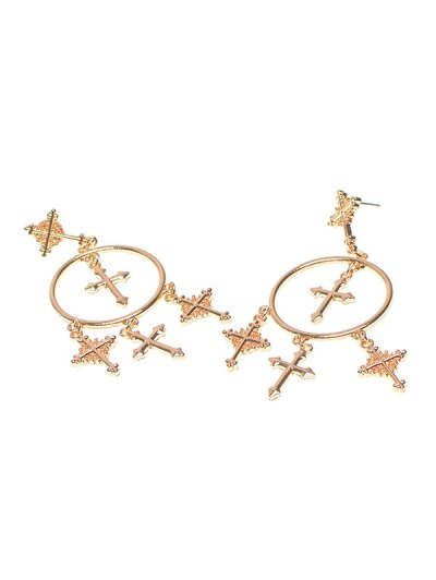 Crosses Tassel Round Drop Earrings - GOLDEN  Mobile