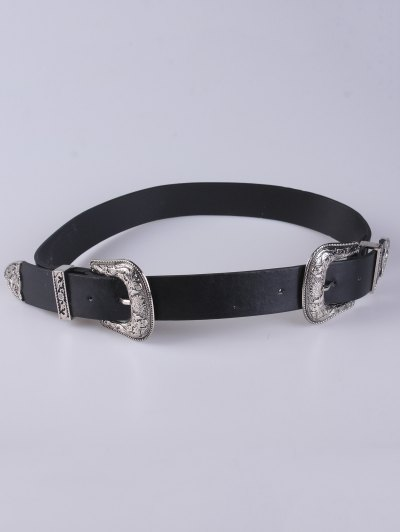 Embellished Double Buckle Belt - BLACK  Mobile