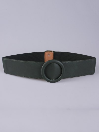 Round Buckle Stretch Belt - OLIVE GREEN  Mobile
