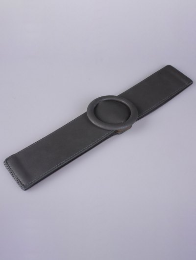 Round Buckle Stretch Belt - GRAY  Mobile